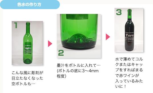 空のボトルは墨汁を底から3〜4mm程度入れて水で薄めると元のように彫刻が栄えます。