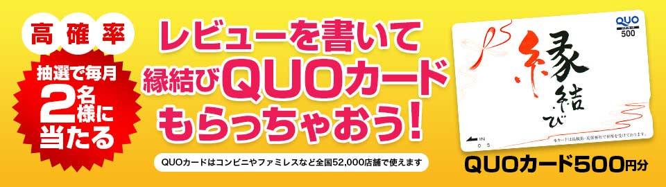 商品レビューを書いて縁結びQUOカード(500円分)をもららっちゃおう!高確率で毎月2名様に当たります!